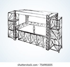 Steel urban scaffolding runway area for amplifiers loud pop musician fest on white backdrop. Freehand line black ink hand drawn picture sketch in art modern scribble contour graphic style pen on paper