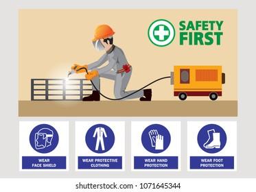 Steel welding vector, welding mask , safety first