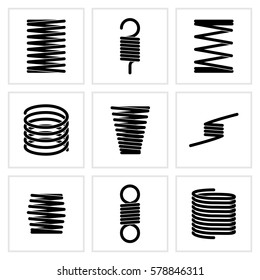 Steel wire flexible spiral coils spring vector icons. Flexible spring of set, illustration of black silhouette steel spring