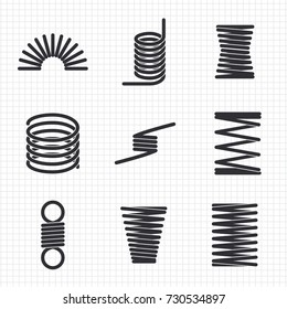 Steel wire flexible spiral coils spring on notebook page. Vector illustration