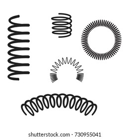 Steel wire flexible spiral coils spring vector icons, illustration of black silhouette steel spring