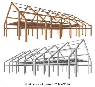 steel and wooden building scheme isolated angle perspective vector illustration