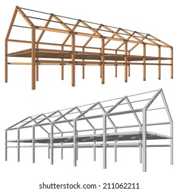 steel and wooden building scheme isolated on white vector illustration
