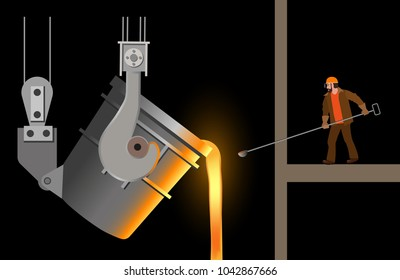 Steelmaker near the steel casting ladle. Vector illustration isolated on black background