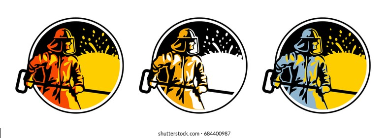 Steelmaker near the stove 3 logo Color orange and Yellow. Flat style vector illustration clipart.