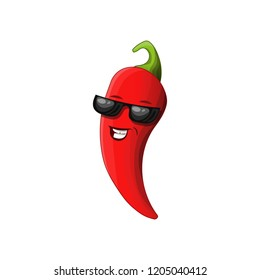 Steep deep red chili pepper with sun glasses, proud and happy, cartoon style, vector illustration isolated on white background