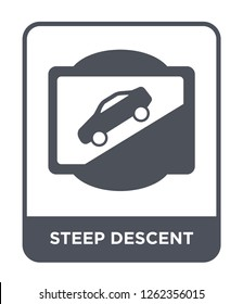 steep descent icon vector on white background, steep descent trendy filled icons from Traffic signs collection, steep descent simple element illustration