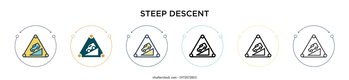 Steep descent sign icon in filled, thin line, outline and stroke style. Vector illustration of two colored and black steep descent sign vector icons designs can be used for mobile, ui, web