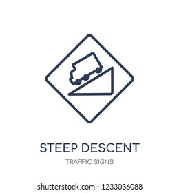 steep descent sign icon. steep descent sign linear symbol design from Traffic signs collection. Simple outline element vector illustration on white background