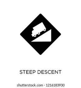 steep descent sign icon. steep descent sign symbol design from Traffic signs collection. Simple element vector illustration on white background.