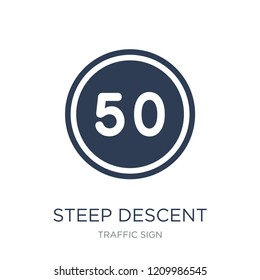 steep descent sign icon. Trendy flat vector steep descent sign icon on white background from traffic sign collection, vector illustration can be use for web and mobile, eps10
