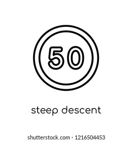steep descent sign icon. Trendy modern flat linear vector steep descent sign icon on white background from thin line traffic sign collection, editable outline stroke vector illustration