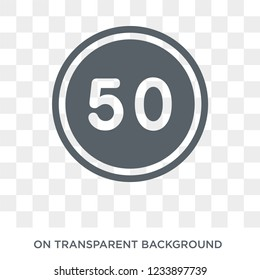 steep descent sign icon. Trendy flat vector steep descent sign icon on transparent background from traffic sign collection.