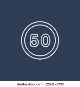 steep descent sign icon. Trendy flat vector line steep descent sign icon on dark blue background from traffic sign collection.