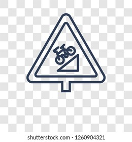 steep descent sign icon. Trendy steep descent sign logo concept on transparent background from Traffic Signs collection