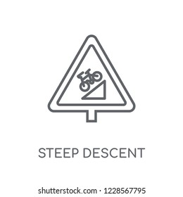 steep descent sign linear icon. Modern outline steep descent sign logo concept on white background from Traffic Signs collection. Suitable for use on web apps, mobile apps and print media.