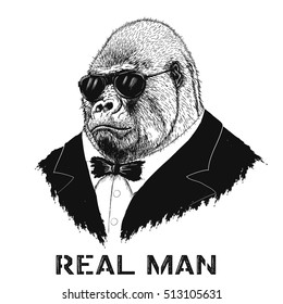 steep gorilla like a real man in jacket and sunglasses.Fashion style