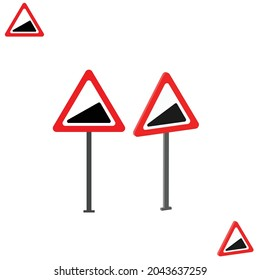 Steep Hill Upwards traffic sign with 3d view
