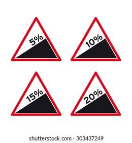 Steep road sign vector set