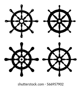 Steering boat wheel vector icon set on white background. Travel concept icons. Flat design elements for website, app or infographics materials.
