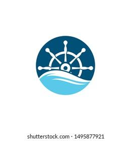 Steering ship symbol vector icon