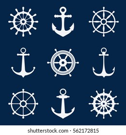 Steering ship wheels and anchors icons. Naval navigation vector signs. Set white silhouettes of anchors and steering wheels illustration