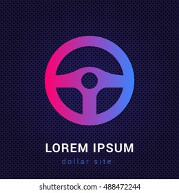 Steering Wheel Blue & Red colorful gradient attractive bright material Icon / Logo Design