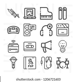 Steering wheel, blueprint, laptop, lightbulb, bayonet on rifle, mic, earphone, cd, bullhorn, piano icon set suitable for info graphics, websites and print media and interfaces