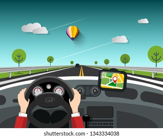 Steering Wheel - Driving Car Design with GPS Navigation. Vector Landscape with Blue Sky and Clouds. On the Road Concept.