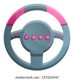 Steering wheel gamepad icon. Cartoon of steering wheel gamepad vector icon for web design isolated on white background
