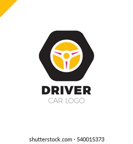 Steering wheel in hexagon icon logotype. Driver abstract symbol logo