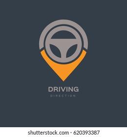 Steering Wheel Map Location Navigation Logo Design