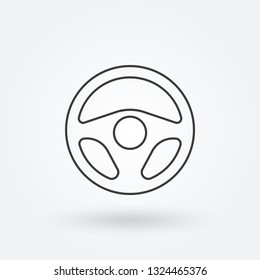 Steering wheel outline icon. Car rudder line sign. Driver and drive logo. Vector illustration.