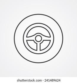 steering wheel outline thin symbol, dark on white background, logo editable, creative template