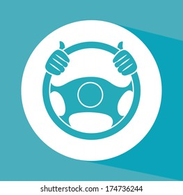 steering wheel over background vector illustration