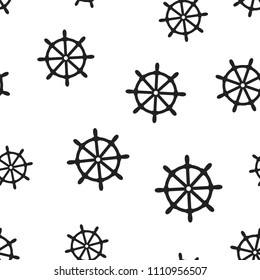 Steering wheel rudder icon seamless pattern background. Business concept vector illustration. Ship wheel symbol pattern.