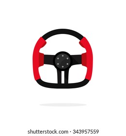 Steering wheel from sport car, retro F1 wheel concept, auto part, element, flat icon, modern symbol, design vector illustration isolated white background, extreme racing, driving logo concept.