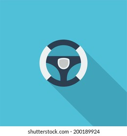 Steering wheel symbol. Vector illustration of flat color icon with long shadow.