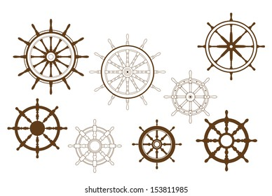 Steering wheels set for heraldry or marine design or idea of logo. Jpeg version also available in gallery