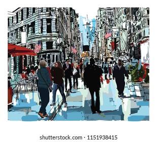 Steet in New York city - vector illustration