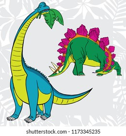 Stegosaurus and brachiosaurus. Cute cartoon characters