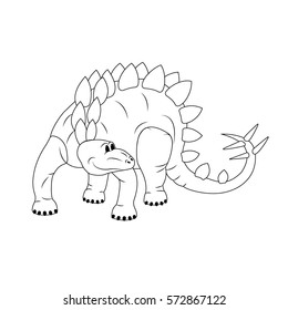 Cartoon Dinosaurs The Contour Drawing Vector Illustration