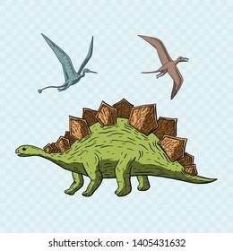 Stegosaurus and Pteranodon Dinosaur. Jurassic and Cretaceous animal. Prehistoric vector dino.Dinosaur in its habitat. Jurassic and Cretaceous animal. Prehistoric vector dino.