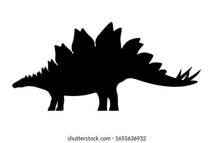 Stegosaurus silhouette. Vector illustration black silhouette of a stegosaurus dinosaur isolated on a white background. Dinosaur logo icon, side view profile.