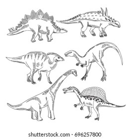 Stegosaurus, triceratops tyrannosaurus and other dinosaur types. Vector hand drawn pictures isolate. Vintage reptile drawing illustration