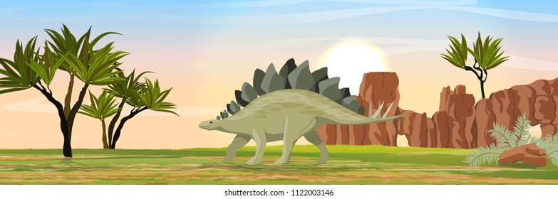 Stegosaurus in the valley with stony rocks. Prehistoric animals and plants. Vector landscape of the Mesozoic or Jurassic period.