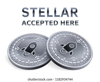 Stellar. Accepted sign emblem. Crypto currency. Silver coins with Stellar symbol isolated on white background. 3D isometric Physical coins with text Accepted Here. Vector illustration.
