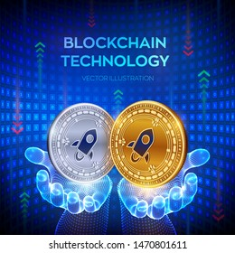 Stellar. Blockchain. 3D Physical bit coin. Block chain concept. Digital currency. Golden and silver coins with Stellar symbol in hands. Editable Cryptocurrency template. Vector illustration.