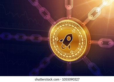 Stellar. Crypto currency. Block chain. 3D isometric Physical Stellar coin with wireframe chain. Blockchain concept. Editable Cryptocurrency template. Stock vector illustration.