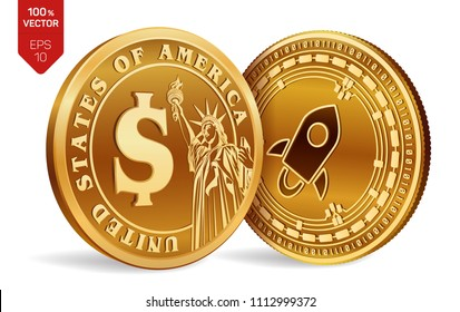 Stellar. Dollar coin. 3D isometric Physical coins. Digital currency. Cryptocurrency. Golden coins with Stellar and Dollar symbol isolated on white background. Vector illustration.